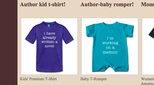 Get a t-shirt for your kids or for yourself--click the link to see our adult-size t-shirts.