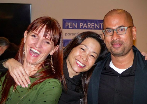 M. M. De Voe, curator Christina Chiu and author Rumaan Alam